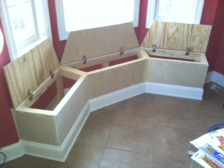 Seating with storage for bay window in kitchen
