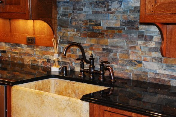 stone backsplash with oak cabinets 15 magnificent kitchen backsplash ideas 454